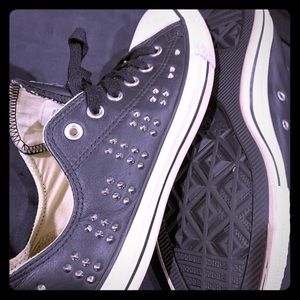 Ladies black studded converse